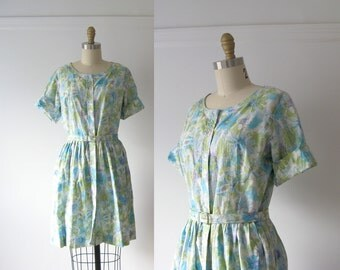Green Dream / 60s dress / vintage 1960s cotton day dress
