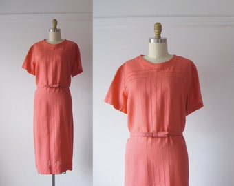 SALE vintage 1960s shift dress / coral pink dress