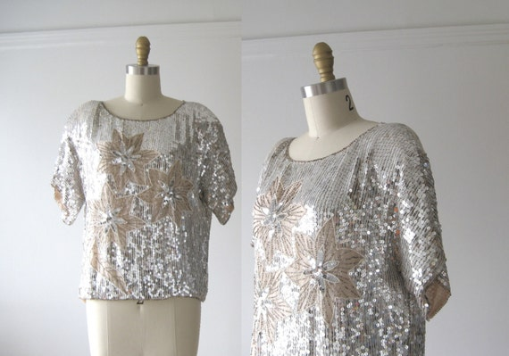 vintage sequins top / silver and rose stars