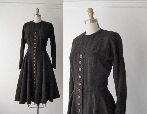 r e s e r v e d vintage 1950s dress / 50s wool dress / Winter Cocoa