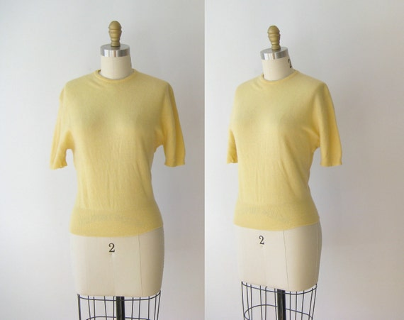 vintage 1950s cashmere sweater // yellow sweater