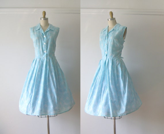 vintage 1950s dress / 50s dress / Blue Skies