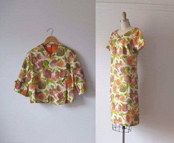 vintage 1960s floral dress / 60s dress and jacket