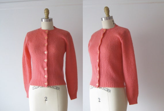 vintage candy pink cardigan / 1960s sweater