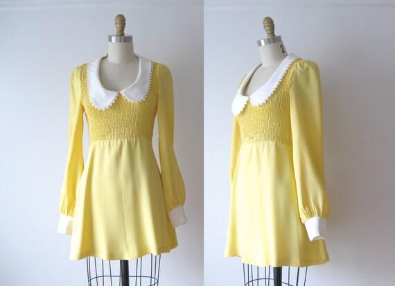 vintage mini dress / 60s mod dress / babydoll dress