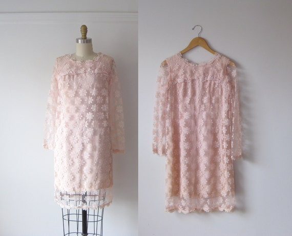 vintage 1960s pink lace mod mini dress
