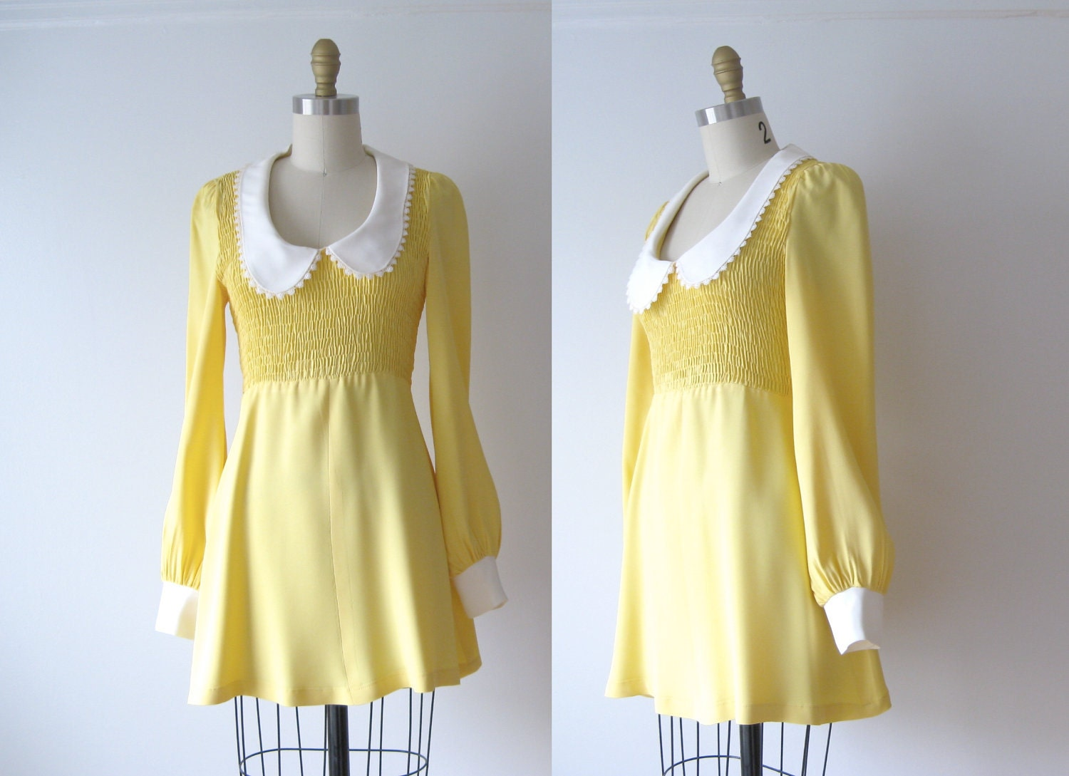Vintage Mini Dress 60s Mod Dress Babydoll Dress