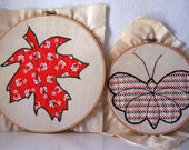 vintage quilt square - maple leaf and butterfly in embroidery hoop - set of two