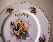 vintage yellow rose anniversary plate - large gold trimmed - happy anniversary plate
