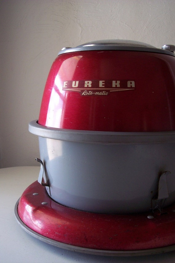 eureka canister vacuum - red and gray - vintage vacuum cleaner - industrial - robot parts