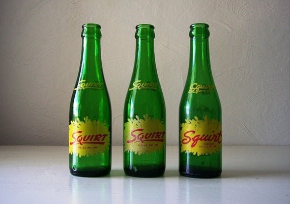 vintage squirt soda pop bottle set of three