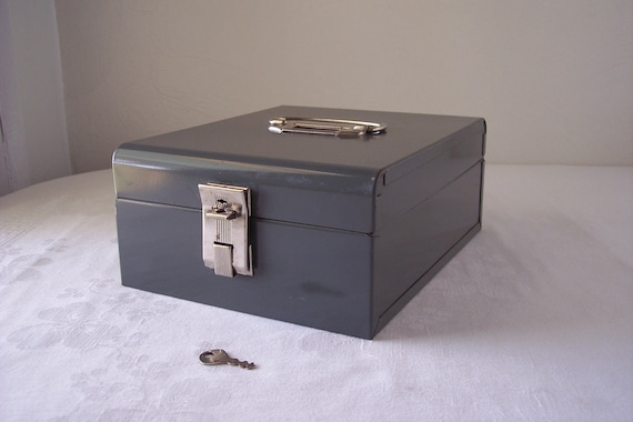 gunmetal gray file box with lock