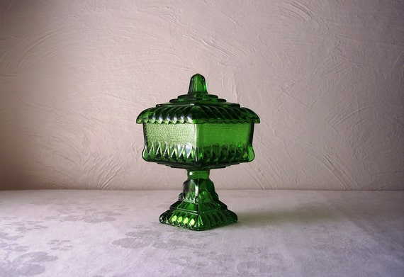 vintage emerald green wedding cake bowl - candy dish with lid