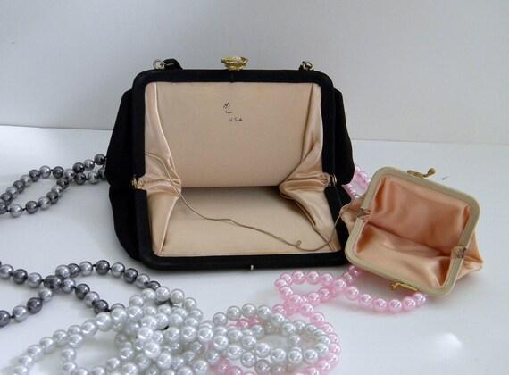 EVC Black Harry Levine Evening Handbag w Soft Pink Satin Lining and Attached matching Change Purse, Gold Hardware Flower Closure