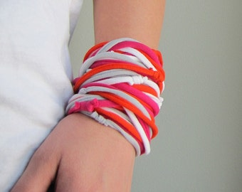 AnnDora - Fabric Bracelet or Necklace, hot pink, orange, white, gray