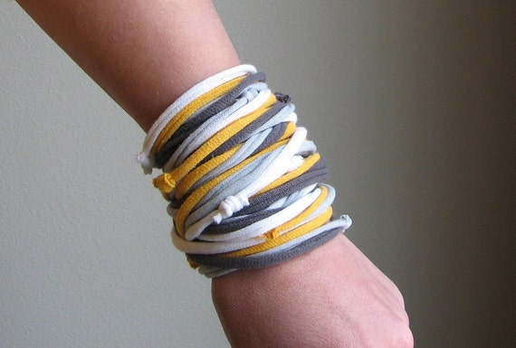 Sunshine in the Rain - Recycled T-shirt Necklace, Bracelet or Cuff