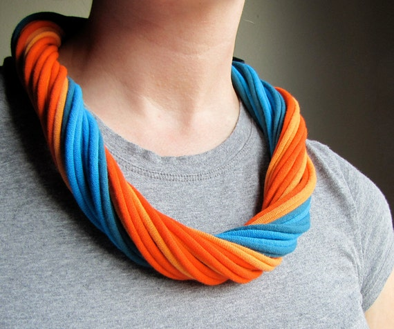 Orange and Blue Pops of Color Recycled T-shirt Scarf Necklace