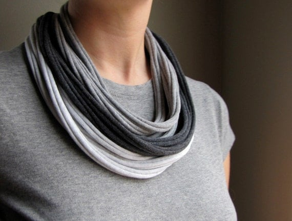 Recycled T Shirt Necklace in Grays