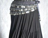 Belly Dance Shimmy Coin Belt in Grey Velvet and Animal Print