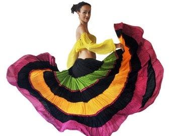 Multicoloured Karnataka Skirt - Flamenco Gypsy Tribal Extra Full Long Skirt