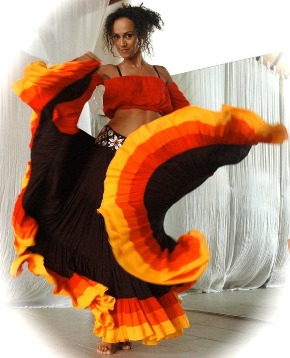Belly Dance Costume Set ROSITA - black Flamenco Gypsy style skirt with red orange yellow bands and matching Gypsy top with beaded belt