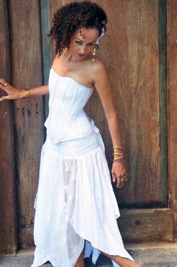 Ishtar Romantic Wraparound Skirt in whites
