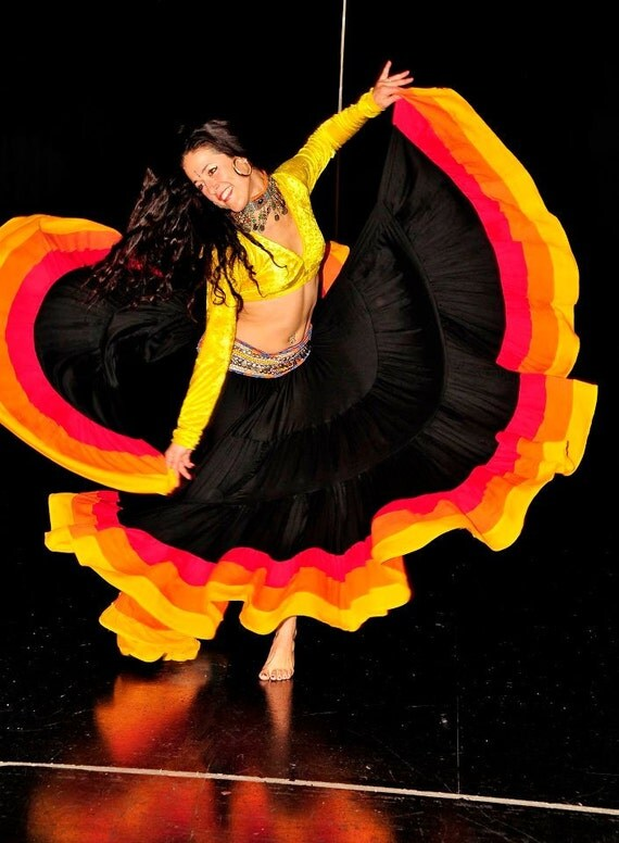 3Band Skirt - Flamenco Gypsy Tribal EXTRA full skirt