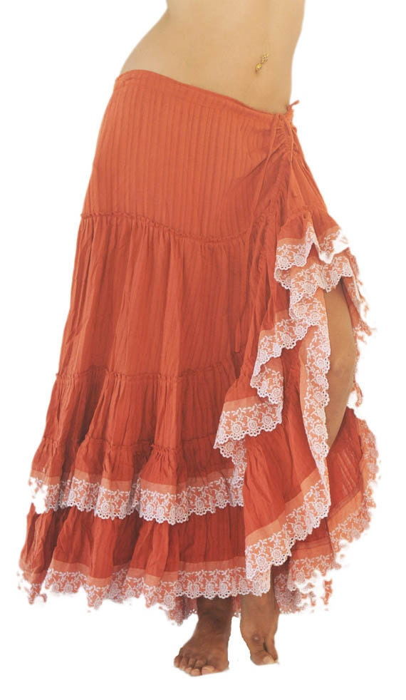 Flamenco Skirt in Orange Cotton and Broderie Anglaise