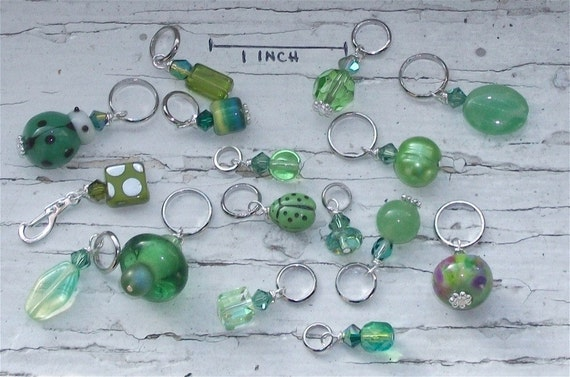 Reserved for aimeeackerman -Lime Shades Orphan Stitch Markers