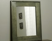 Distressed Wood Framed Mirror in Forest Green Bamboo Stain