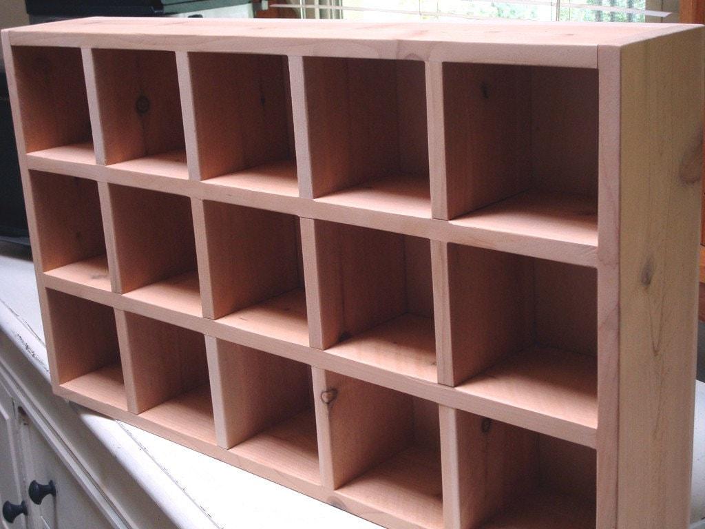 Cedar Cubby Shelf 15 Cubby Wall Shelf By Kennethdante On Etsy