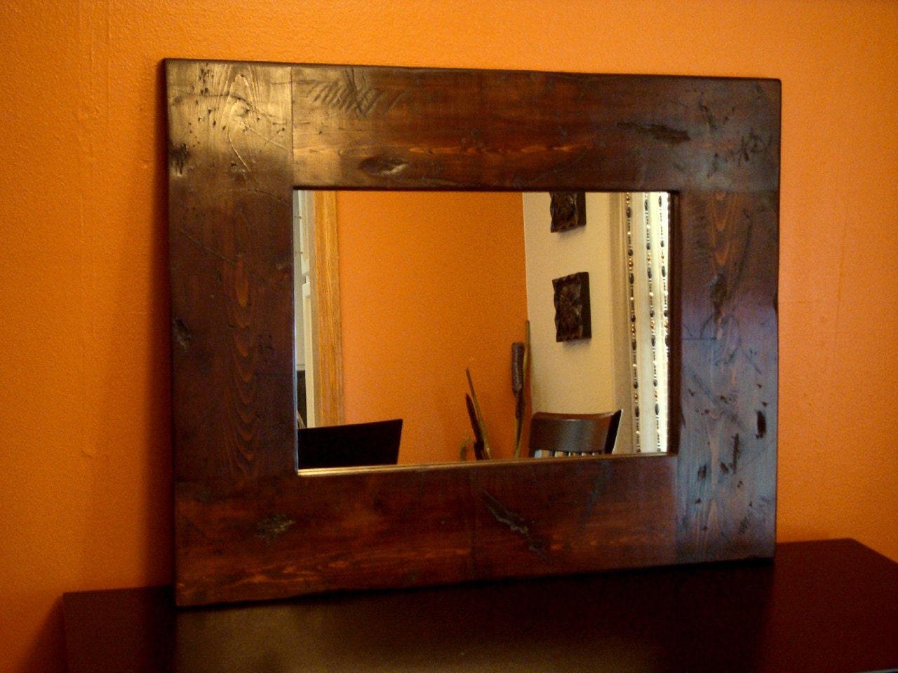wood wall mirror distressed rustic wooden frame by kennethdante
