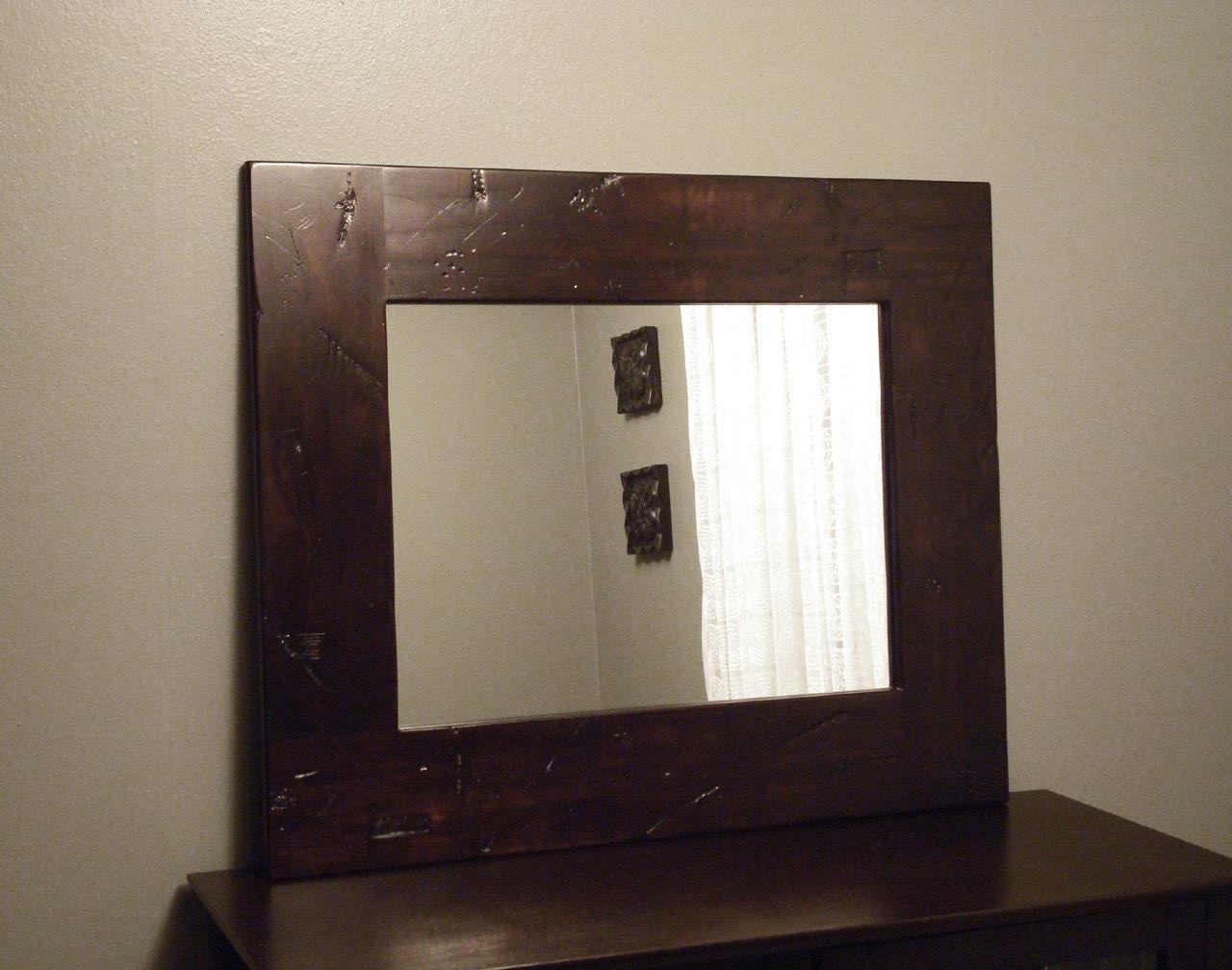 Rustic Wood Mirror Distressed Dark Brown Espresso By