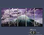 CUSTOM - Willson's Signature Series - Asian Blossoms - Original Asian Zen Art Modern Oil Painting 30X75