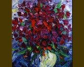Original Textured Palette Knife Oil Painting Contemporary Floral Modern Art 12X16 by Willson