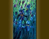 Original Textured Palette Knife Iris Irises Oil Painting Contemporary Floral Modern Art 12X24 by Willson