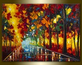 Original Textured Palette Knife Landscape Painting Oil on Canvas Contemporary Modern Art Rainy Night 24X31 by Willson Lau