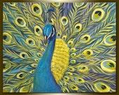 Peacock Oil Painting Original Modern Animal Art 16X20 by Willson Lau