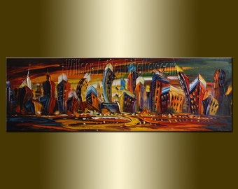 CUSTOM Original Abstract Cityscape Oil Painting Textured Palette Knife Contemporary Modern Art by Willson