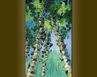 CUSTOM Textured Palette Knife Modern Birch Tree Art Seasons Original Landscape Painting Oil on Canvas by Willson