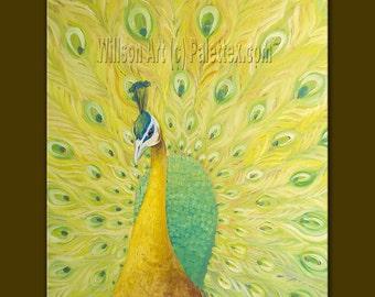 Original Peacock Oil Painting Contemporary Modern Animal Art 31X40 by Willson Lau
