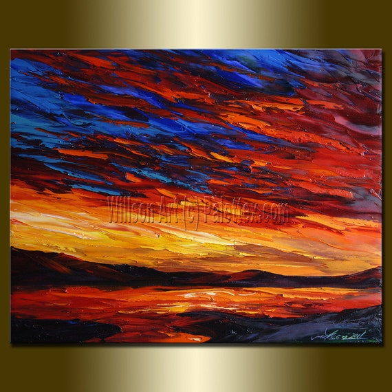 Original Textured Palette Knife Seascape Painting Oil on Canvas Contemporary Abstract Modern Art 16X20 by Willson