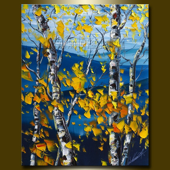 Original Autumn Birch Landscape Painting Oil on Canvas Textured Palette Knife Contemporary Modern Tree Art 16X20 by Willson