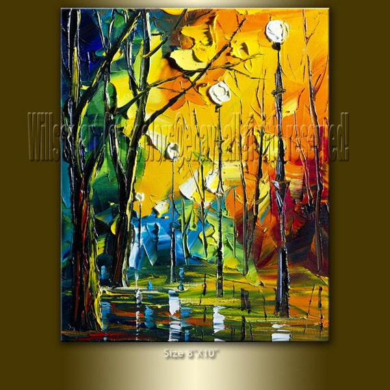 Original Textured Palette Knife Landscape Painting Oil on Canvas Contemporary Abstract Modern Art Rainy Night 8X10 by Willson Lau