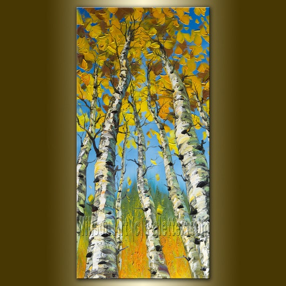 Original Landscape Painting Oil on Canvas Textured Palette Knife Contemporary Modern Tree Art Seasons 18X36 by Willson