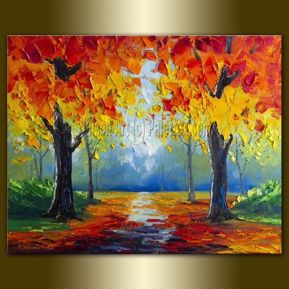 Original Textured Palette Knife Landscape Painting Oil on Canvas Contemporary Modern Art 16X20 by Willson