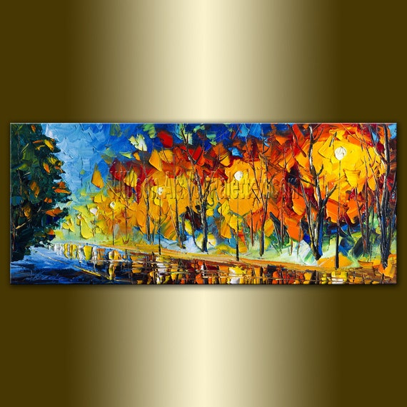 SALE 15% off Original Textured Palette Knife Landscape Painting Oil on Canvas Contemporary Modern Art Rainy Night 12X27 by Willson Lau