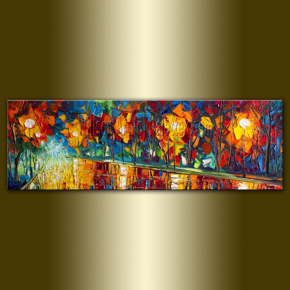Original Textured Palette Knife Landscape Painting Oil on Canvas Contemporary Modern Art Rainy Night 12X36 by Willson Lau