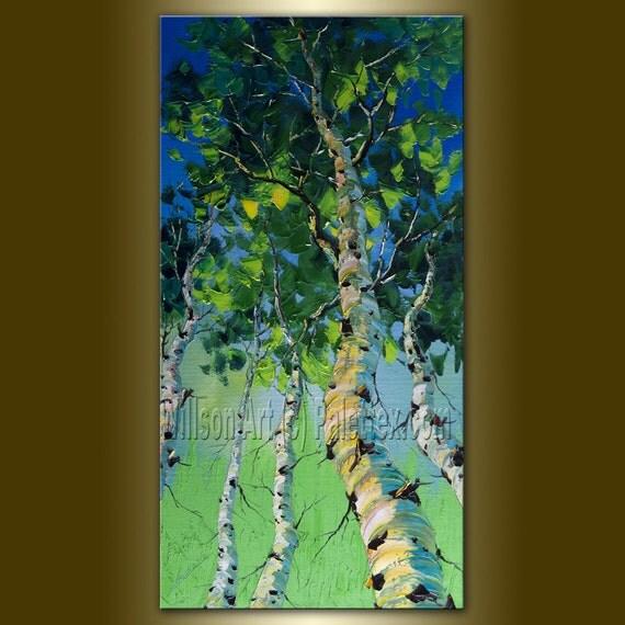 Original Landscape Painting Oil on Canvas Textured Palette Knife Modern Tree Art Seasons 19X37