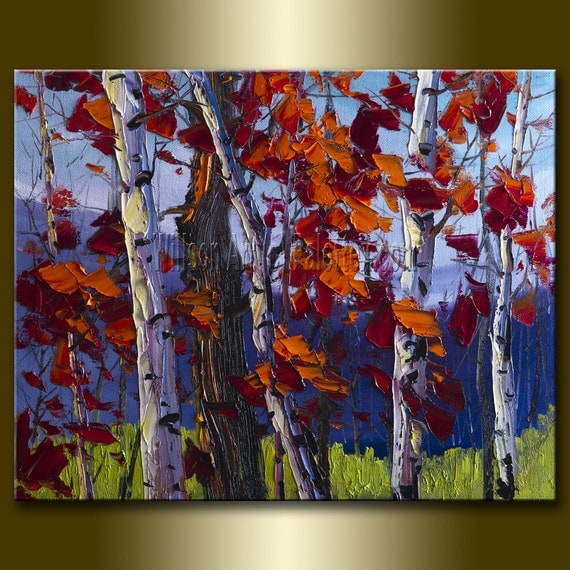 Cyber Monday Sale 20% off Original Birch Landscape Painting Oil on Canvas Textured Palette Knife Modern Tree Art 16X20